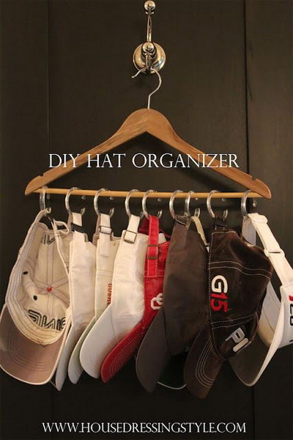 DIY Hat Hanger with Curtains Rings and a Hanger.