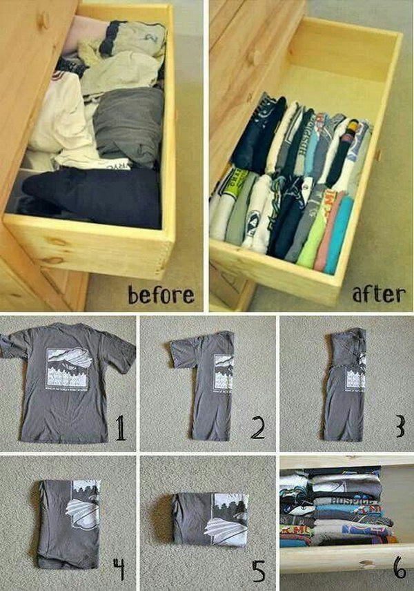 T Shirt Organization and Storage in Drawers.