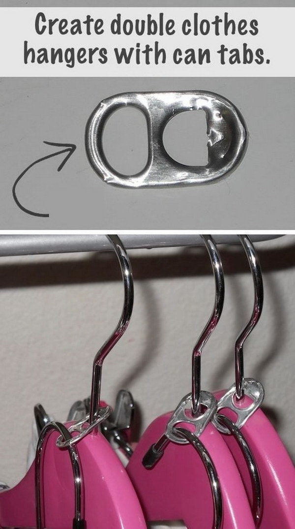 DIY Double Clothes Hangers with Soda Can Tabs.