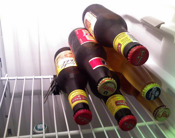 Use A Binder Clip To Keep Beer Stacked.