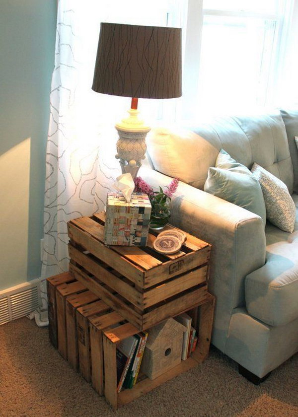DIY Wood Crate Side Table for $15