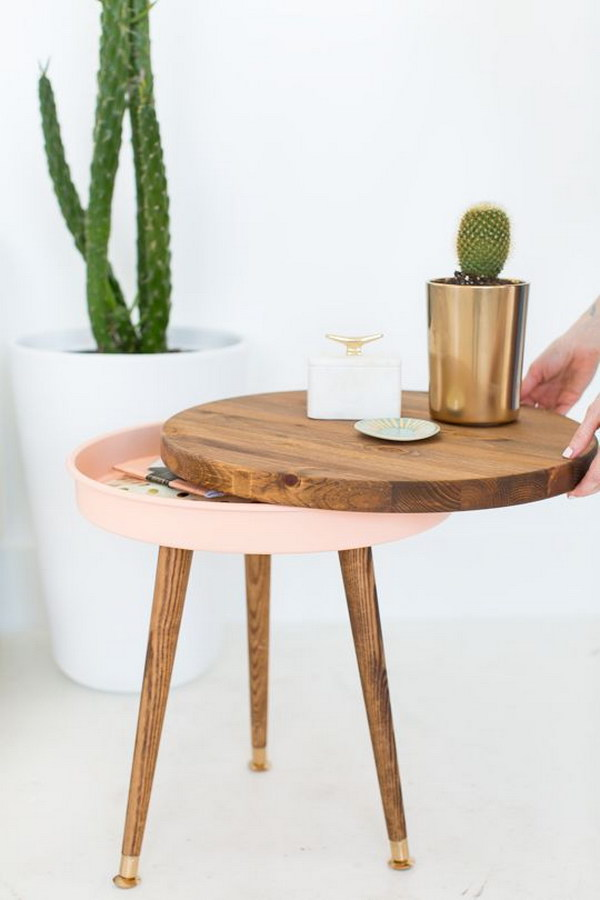 DIY Side Table with Hidden Storage
