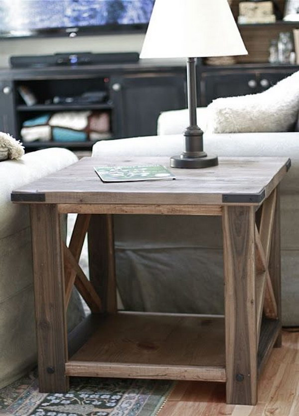 DIY Rustic X Side Table