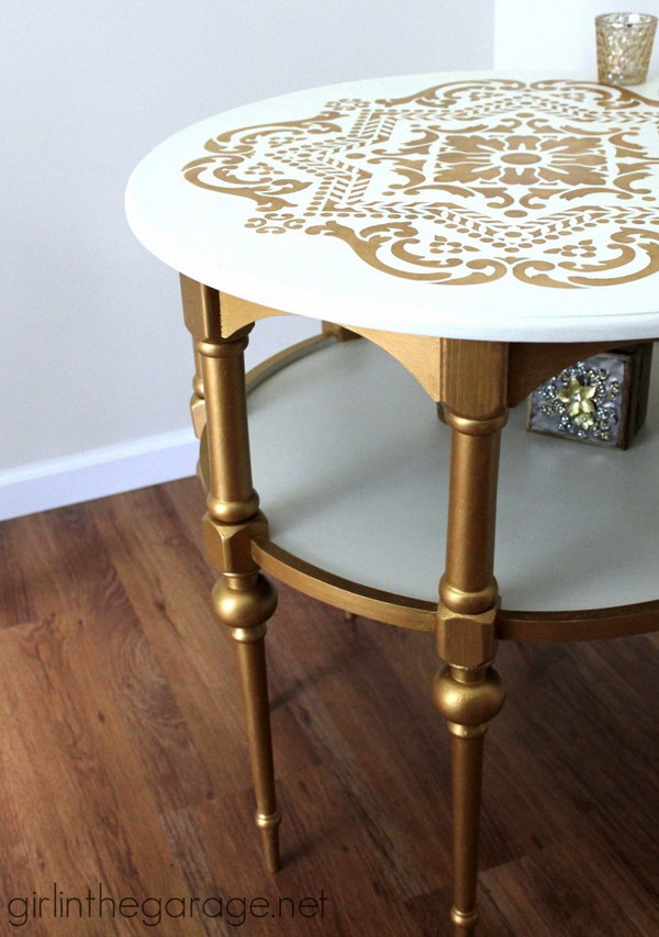 Gold and White Stenciled Side Table