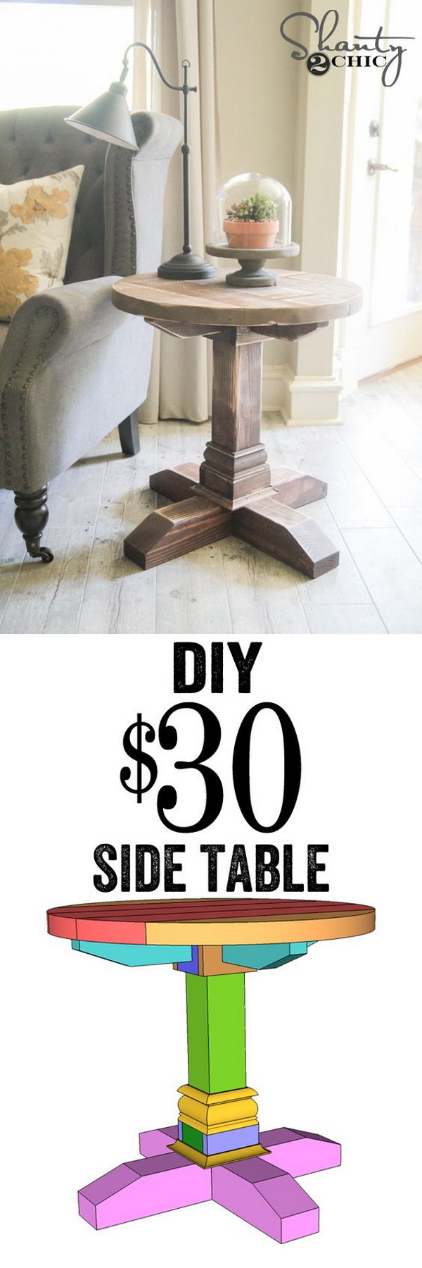 25 diy side table ideas with lots of tutorials 2017 for Round end table diy