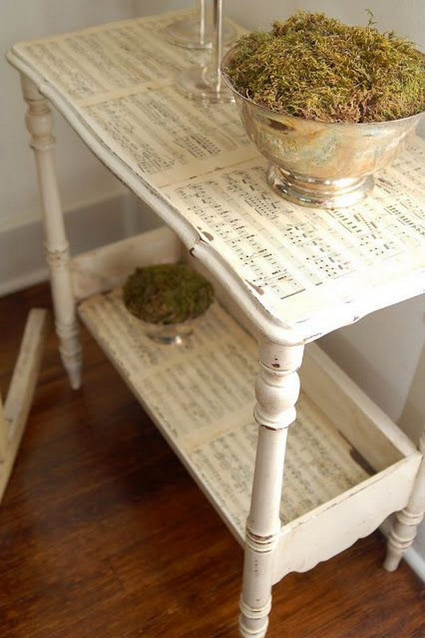 DIY Sheet Music Side Table