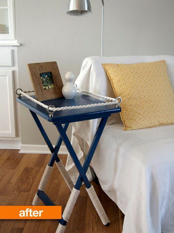 Nautical Chic Look Tray Table Makeover