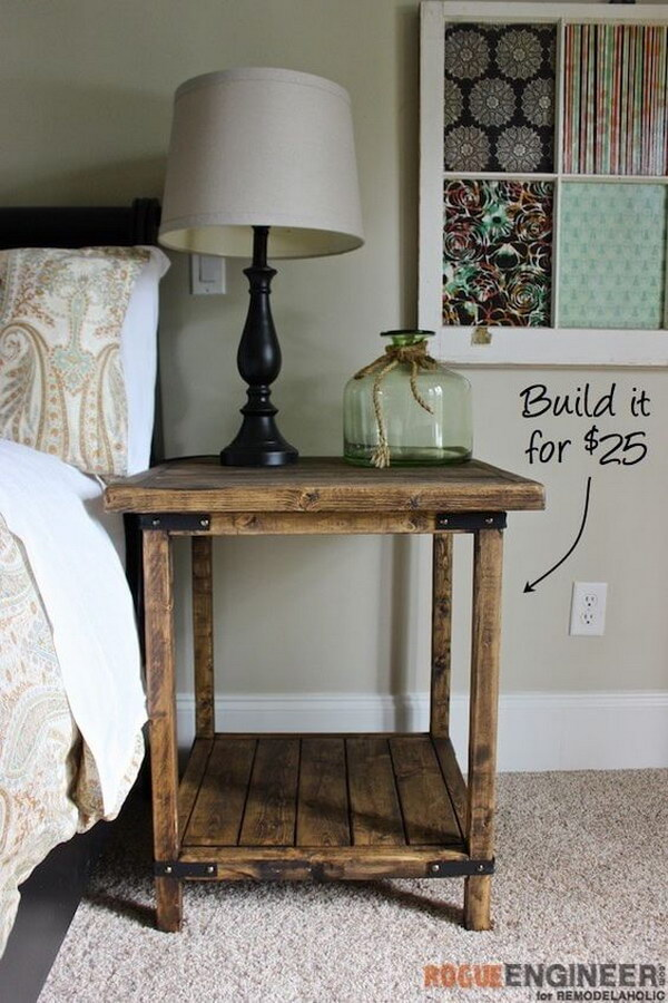Delightful DIY Rustic Square Side Table For Under $25