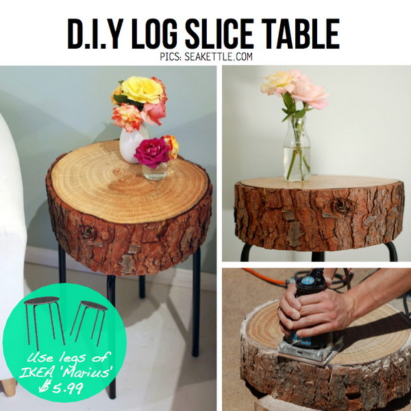 DIY Log Slice Side Table Using the Legs from IKEA Marius
