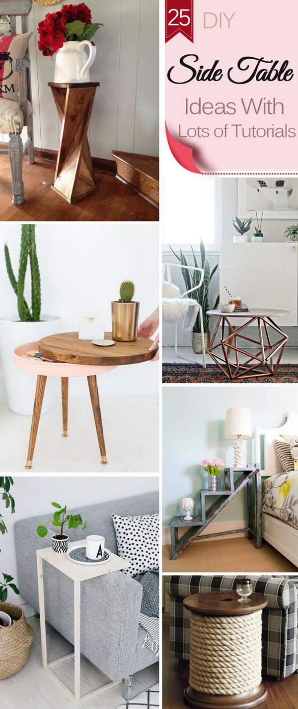 Superbe DIY Side Table Ideas With Lots Of Tutorials.