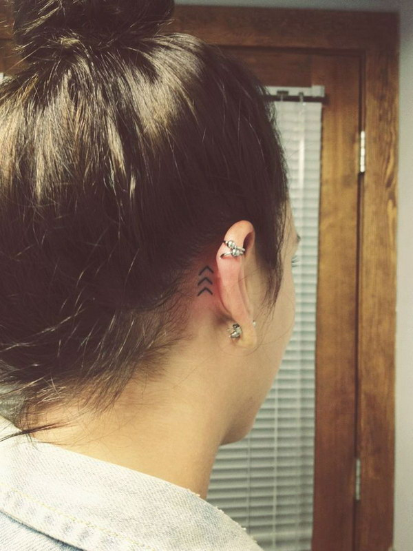 Simple Behind the Ear Tattoo.