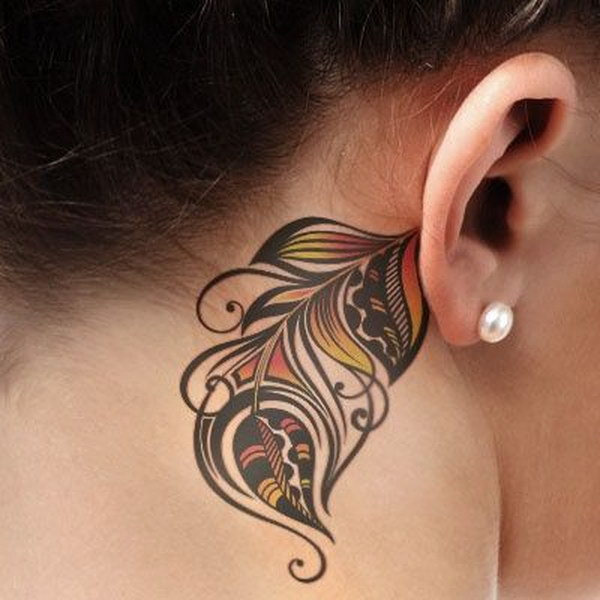 Colorful Feather Tattoo Behind the Ear.