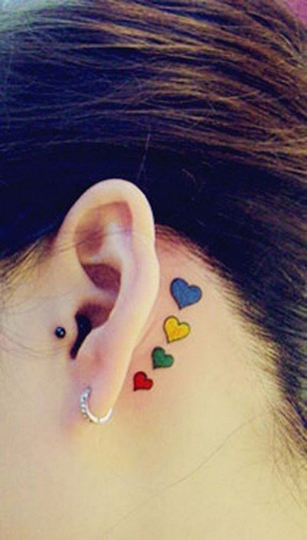 Colorful Heart Ear Tattoo Idea.