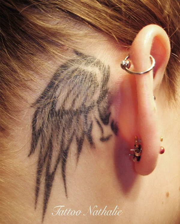 Wing Tattoo Design Behind the Ear.