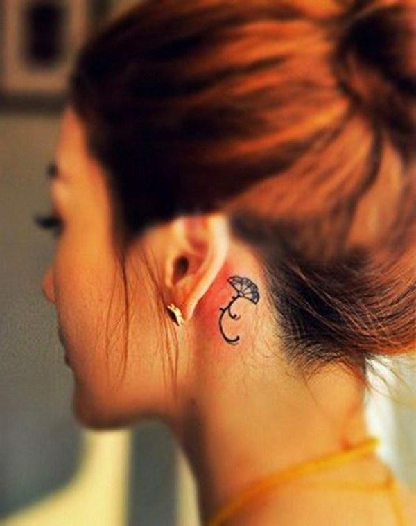 Pretty Fan Behind the Ear Tattoo Deisgn.