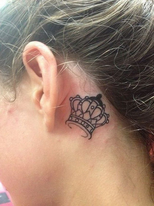 Crown Tattoo Behind the Ear.