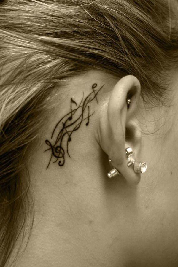 Music Ear Tattoo Design.