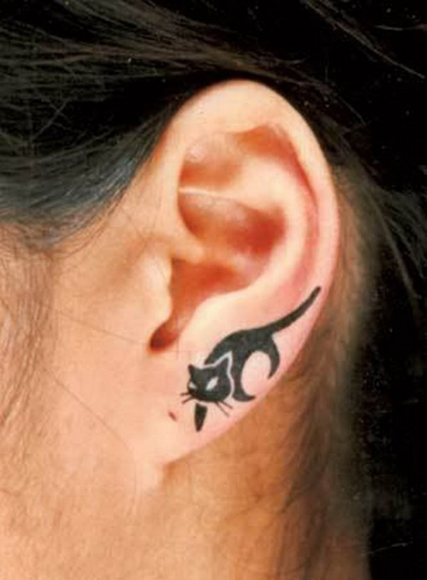Cat Ear Tattoo Design.