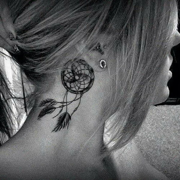 Behind the Ear Tattoo with Dreamcatcher.