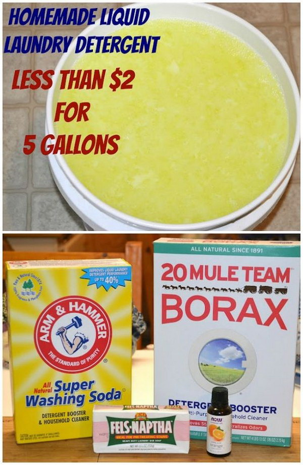 Homemade Liquid Laundry Detergent.