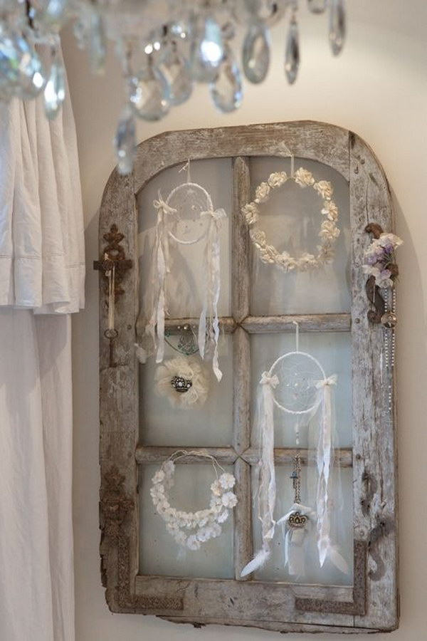 Salvaged Window Treasures Displaying
