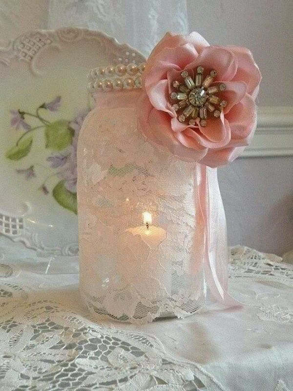Shabby Chic Mason Jar Candle Holder