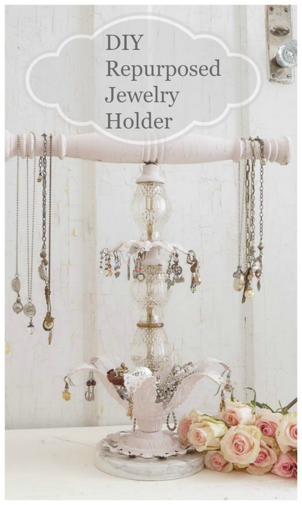 DIY Repurposed Shabby Chic Jewelry Holder