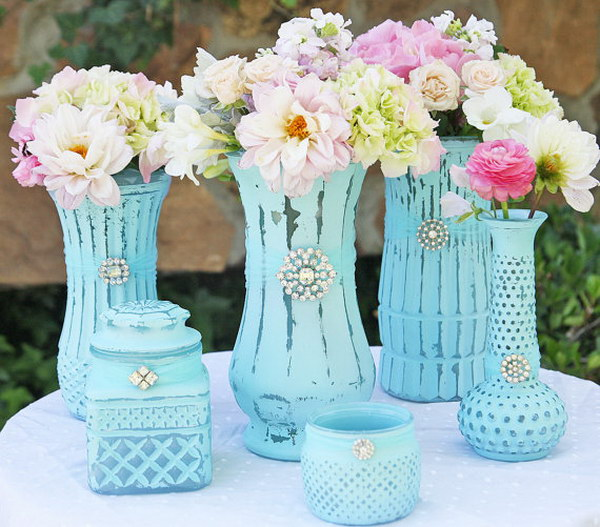 Shabby Chic Decorating Part - 48: DIY Turquoise Shabby Chic Vases