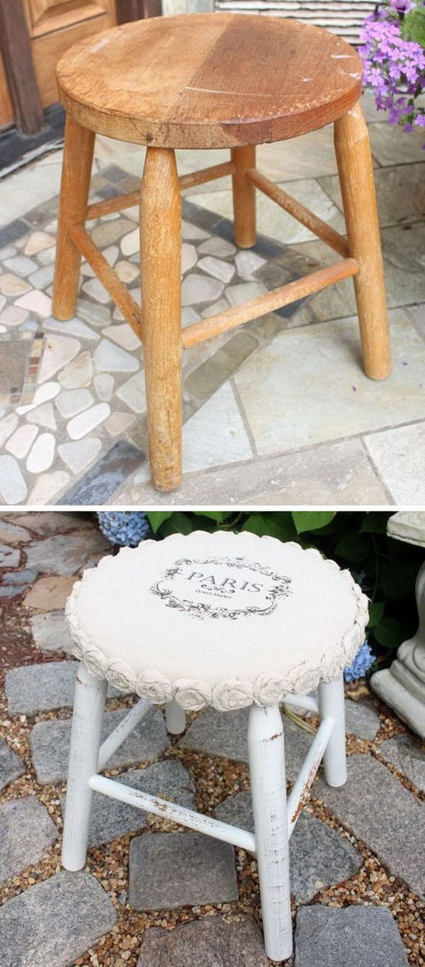 Mini Drop Cloth Rosette Stool Makeover