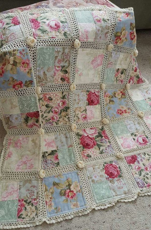 Shabby Chic Fabric and Crochet Quilt in Colors of Pink, Blue, Green, and Ivory