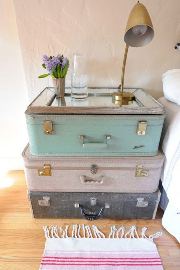 Beautiful Vintage Suitcase Nightstand