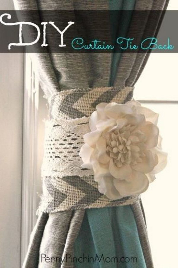 DIY Shabby Chic Curtain Tie Back