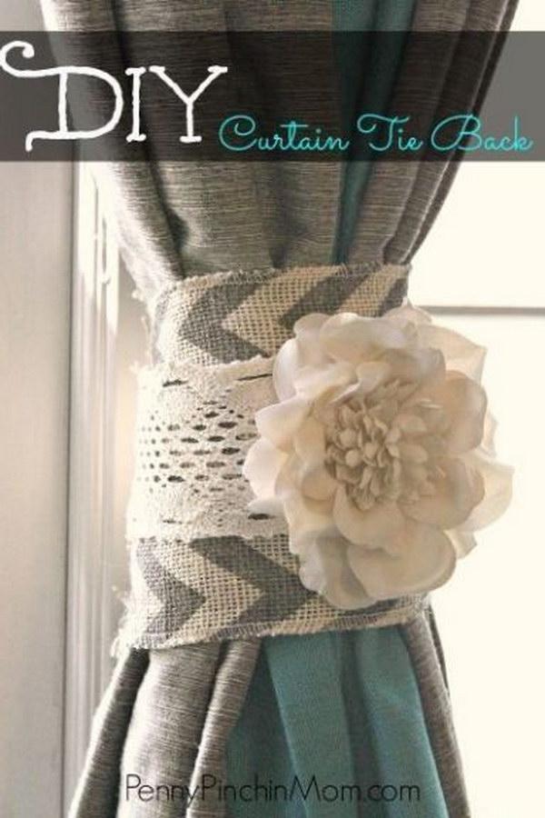 DIY Shabby Chic Curtain Tie Back