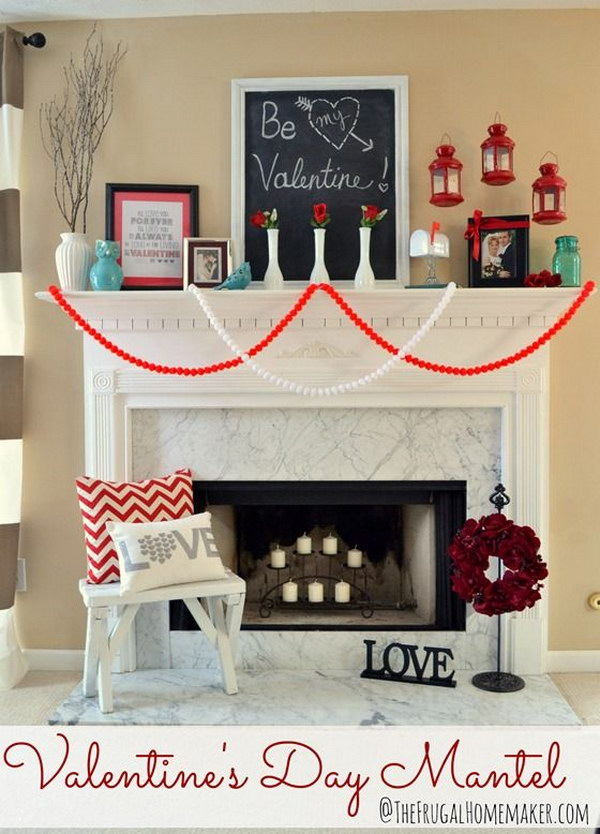 Valentine'S Day Mantel Decor.