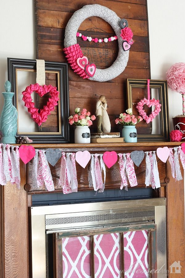 Valentine'S Mantel Antique Stove Board For The Backdrop And Photo Frames.