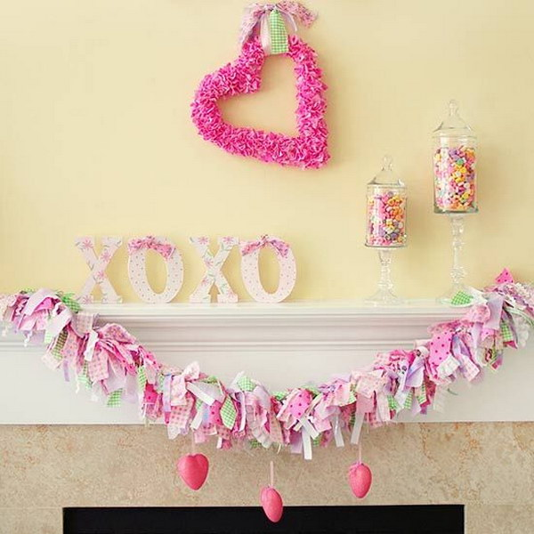 Simple Pink Valentine's Mantel.