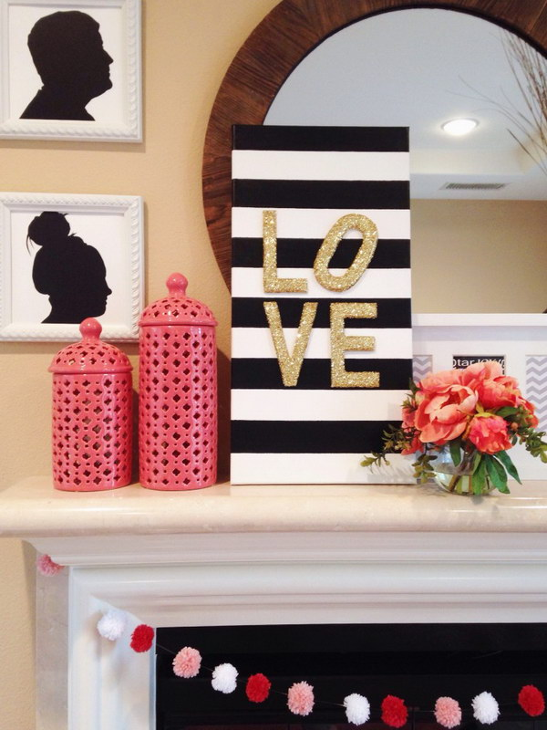 DIY Glitter Love Canvas Sign.