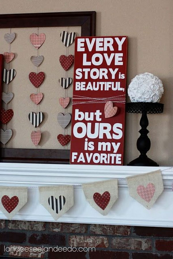 Lovely Valentine Fireplace Mantel Decorating Idea.
