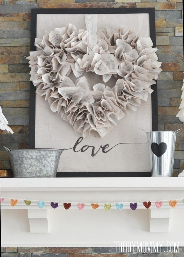 DIY Neutral Valentine's Day Mantel Decor.