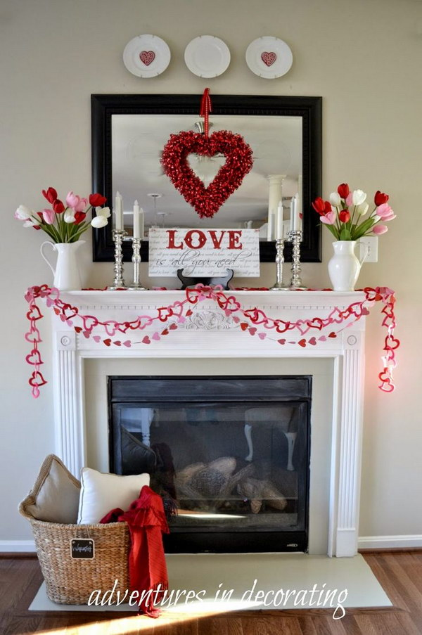 Beautiful Valentine's Day Mantel Decorations 2017