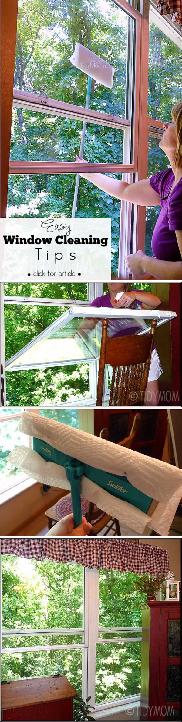 Easy Window Cleaning Tip with Swiffer Floor Tool, Paper Towel and Window Cleaner.