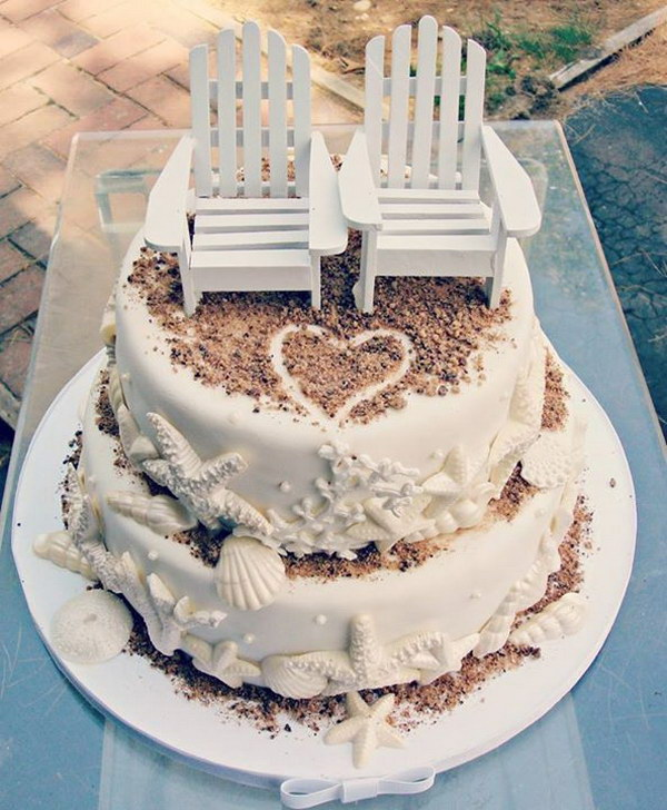 20 cool beach wedding ideas 2017 beach themed wedding cake junglespirit Gallery
