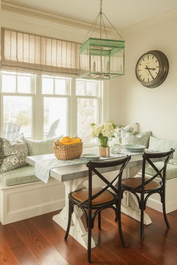 light green themed breakfast nook - Breakfast Nook Ideas