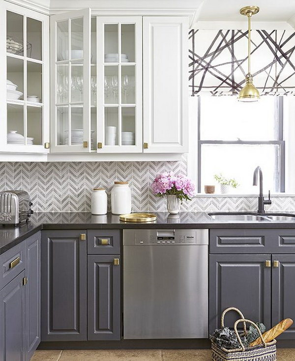 White And Grey Kitchen Cabinets With Gold Hardware