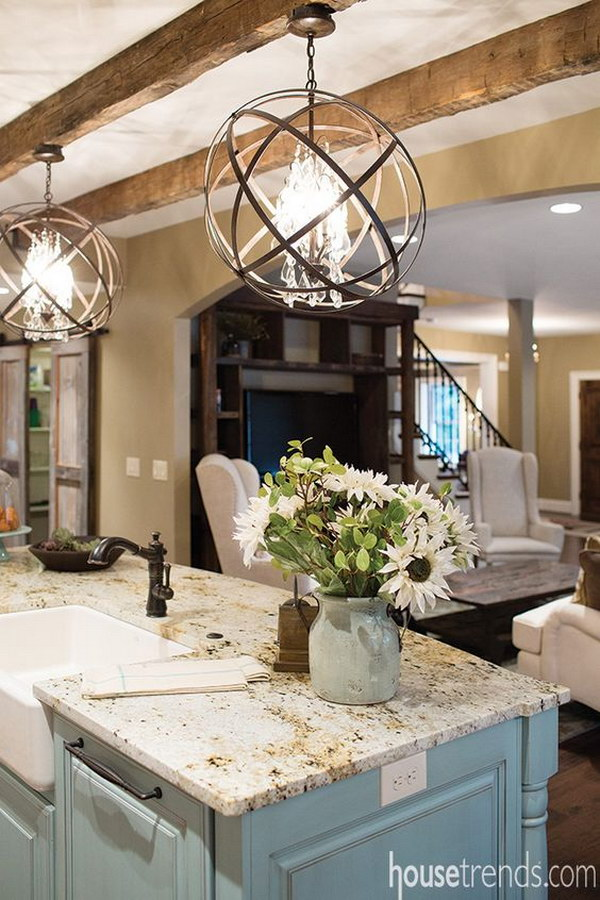 Lovely Orbit Pendant From CLC Lighting Design Over Kitchcen Island