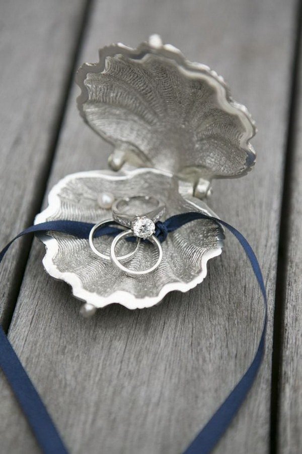 Clam Ring Holder for a Beach Wedding.