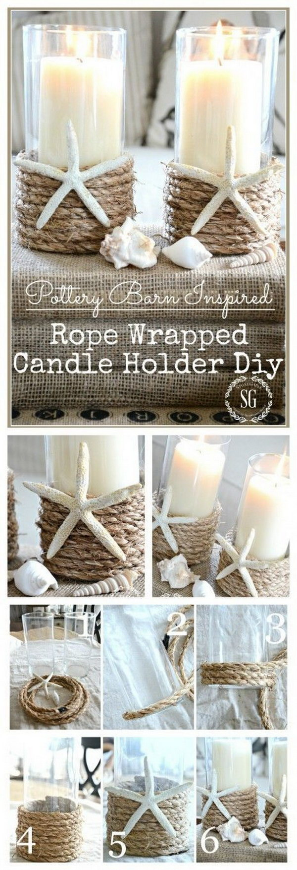Beach Inspired Rope Wrapped Candleholder