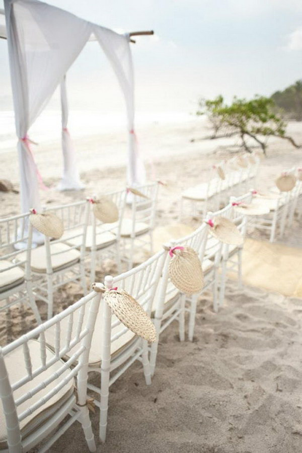 Beach Wedding Chair Decoration with Fans.