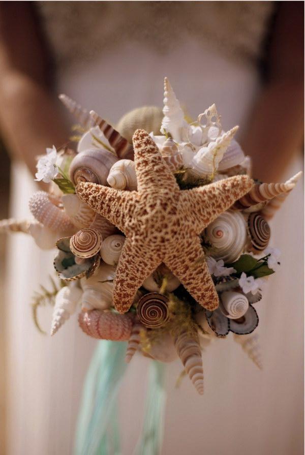 20 cool beach wedding ideas 2017 sea shell bride bouquet junglespirit Images