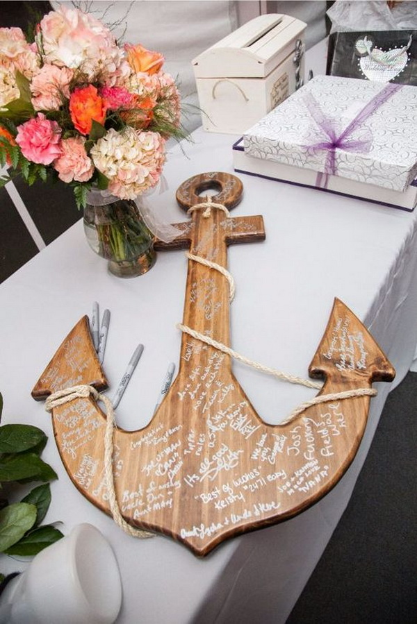 Beach Wedding Wooden Anchor Guest Book.